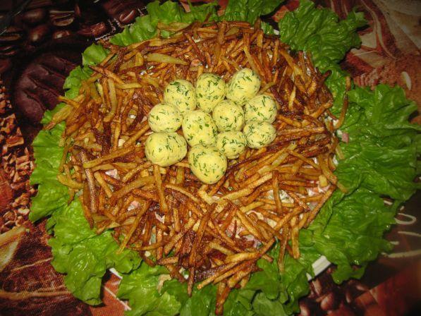 Гнездо глухаря рецепт с фото пошагово салат