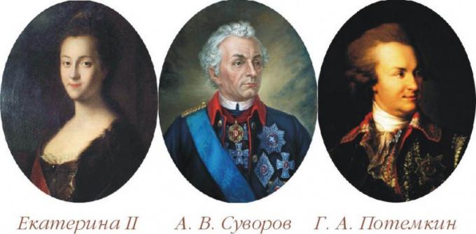 Екатерина Вторая, А. В. Суворов и Г. А. Потемкин-Таврический