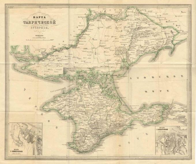 Генеральная карта Таврической губернии начала 19 века