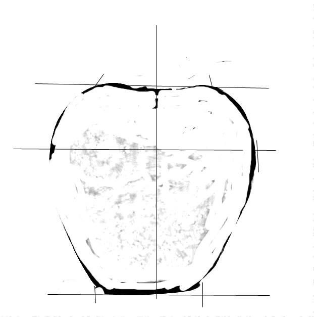 Начните рисовать яблоко с вертикальной линии