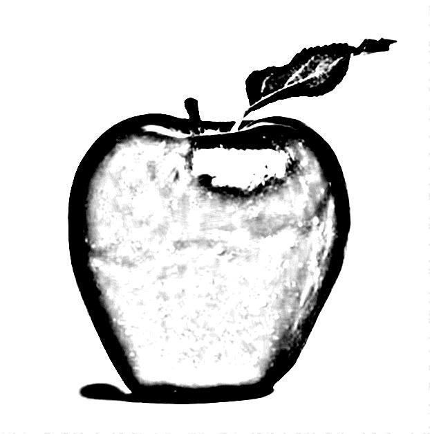 Передайте форму яблока штриховкой или растушевкой