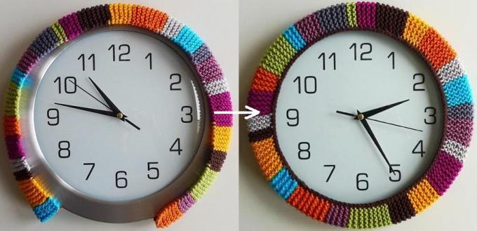 Вязаная рама для часов