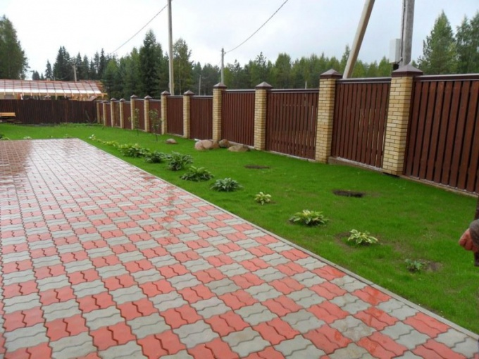 The yard can be laid out with paving stones