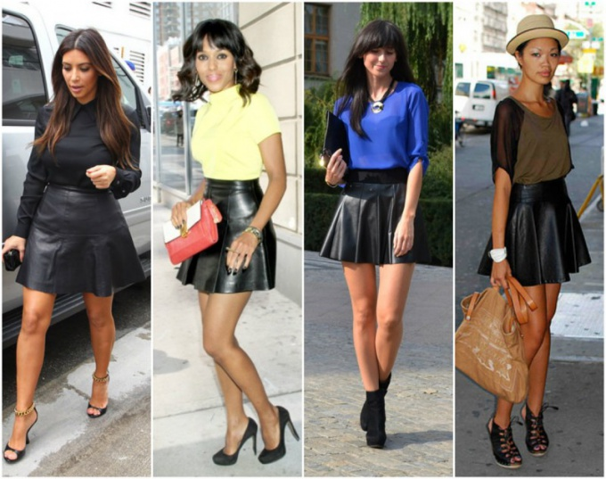 Not far behind the recognized idols and fashion bloggers, dressed in skirts of leather of all colors.