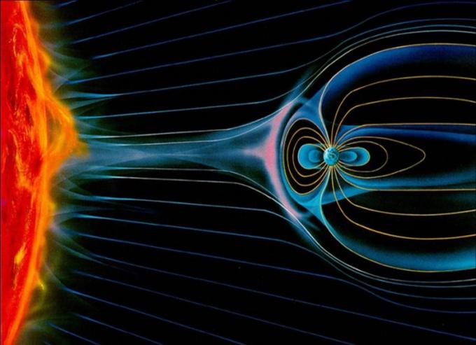 Действие Солнца на магнитосферу Земли