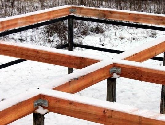 Обвязка фундамента из винтовых свай, выполненная с помощью деревянных балок