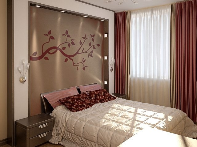 Niches of plasterboard in the bedroom