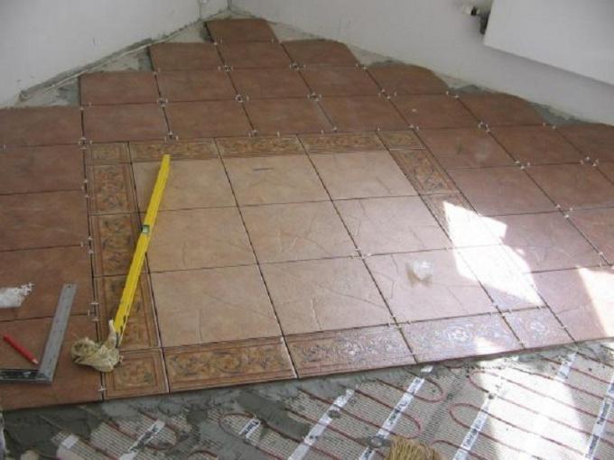 Than pour the bathroom floor under the tile