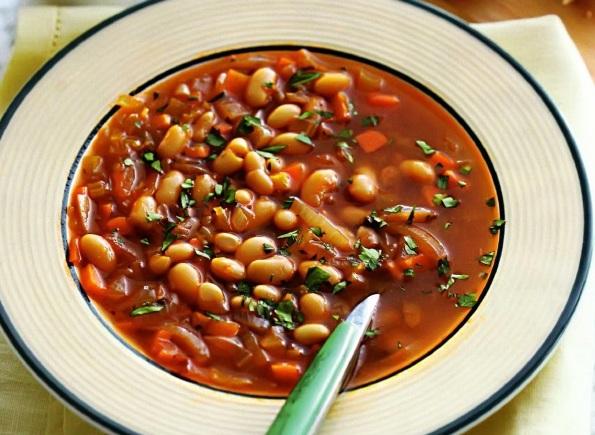 суп с красной и белой фасолью фото