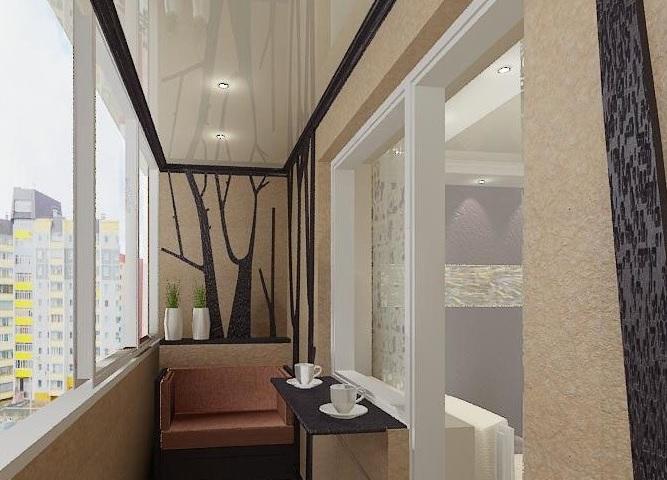 Дизайн потолков на балконе.
