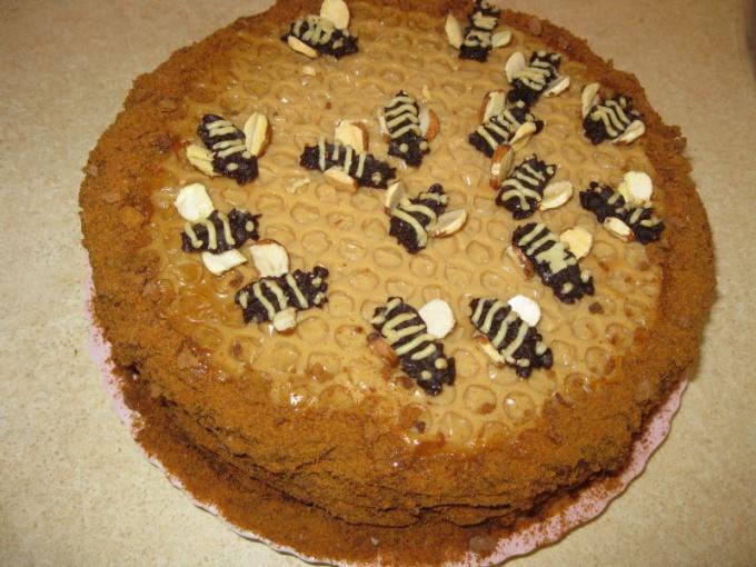 Как сделать соты на торте