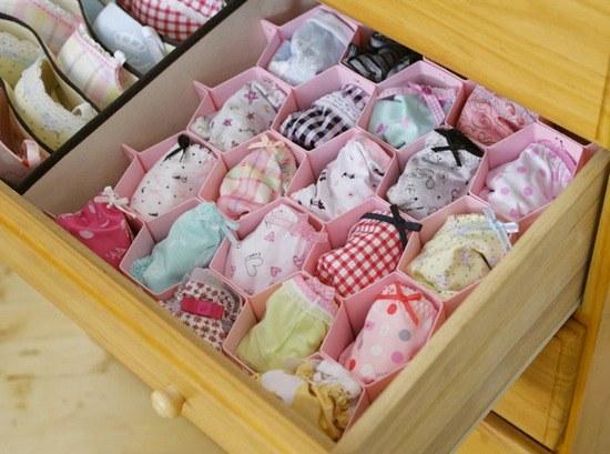 Homemade organizer for underwear