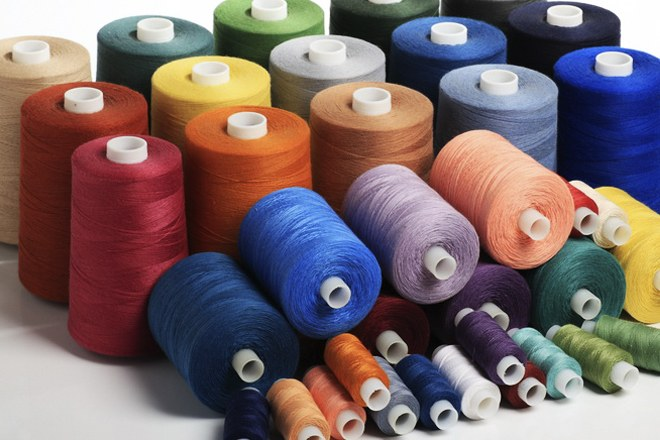 Thread for sewing is made from natural and synthetic materials