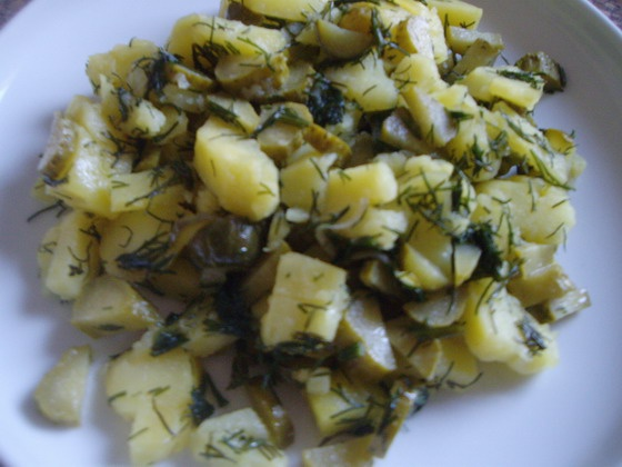 Traditional taste: potato+pickled cucumber