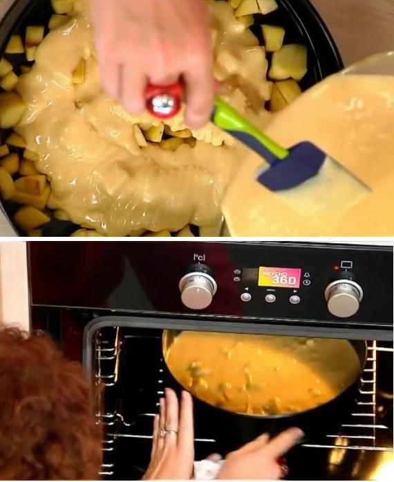 Выкладываем в антипригарную форму карамелизованные яблоки и сверху заливаем их тестом. Ставим форму с пирогом в разогретую до 180 градусов духовку и запекаем в течении 30 минут.