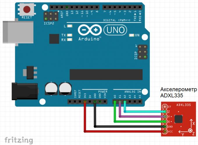 Схема подключения акселерометра ADXL335 к Arduno