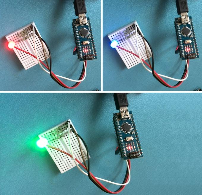 Мигание RGB светодиодом в действии