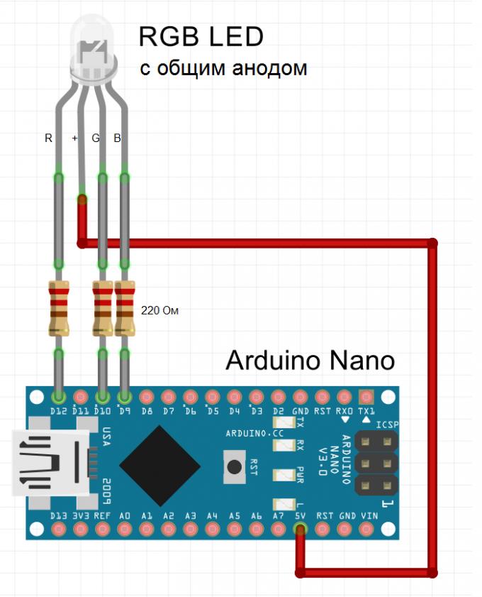 Схема подключения RGB светодиода с общим анодом к Arduino
