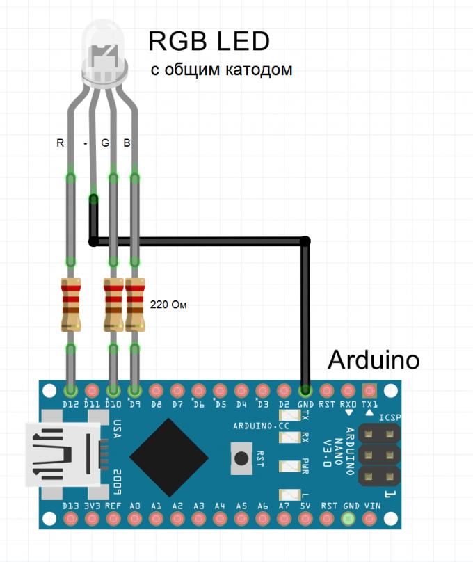 Схема подключения RGB светодиода с общим катодом к Arduino