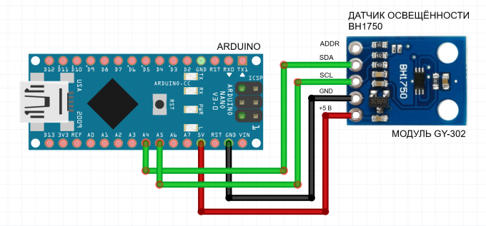 Wiring diagram for the BH1750 light sensor to Arduino