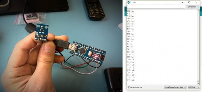 Датчик света BH1750 и Arduino в работе