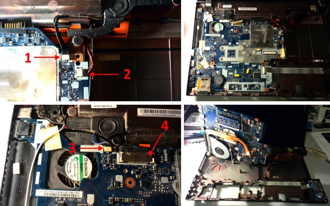 Remove the motherboard laptop Acer Aspire V3-571G