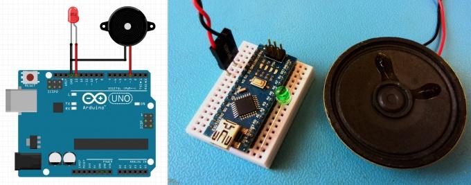 Схема подключения пищалки и светодиода к Arduino