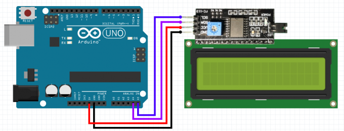 Wiring diagram for the I2C module FC-113 to the LCD display and Arduino