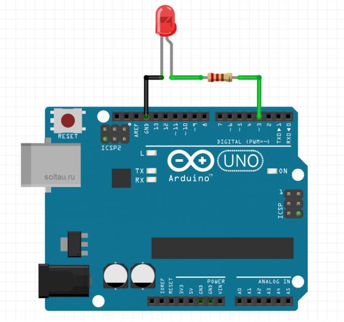 Схема для демонстрации ШИМ в Arduino