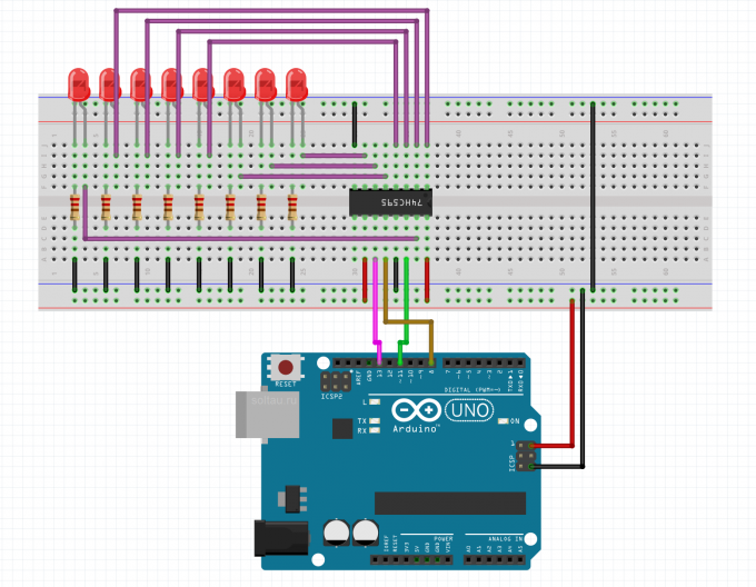 Подключение сдвигового регистра 74HC595 к Arduino
