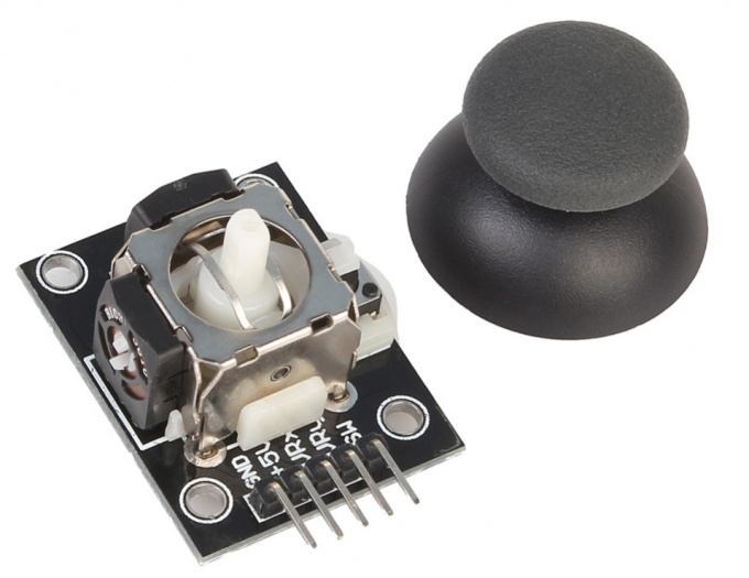Joystick with two axes and a button