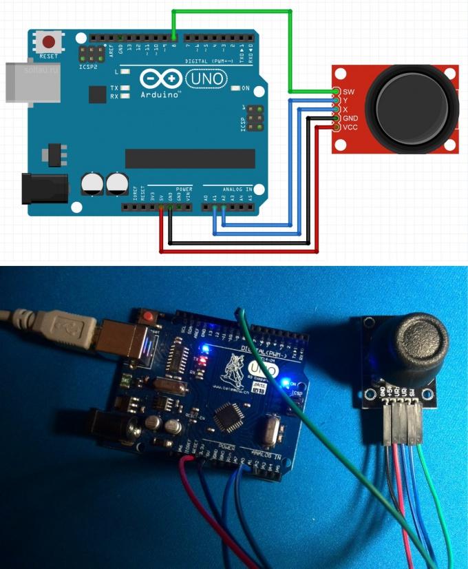 Схема подключения джойстика к Arduino