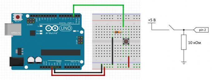 Подключение кнопки к Arduino по схеме с подтягивающим резистором