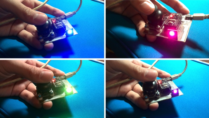 RGB led, controlled by joystick and Arduino
