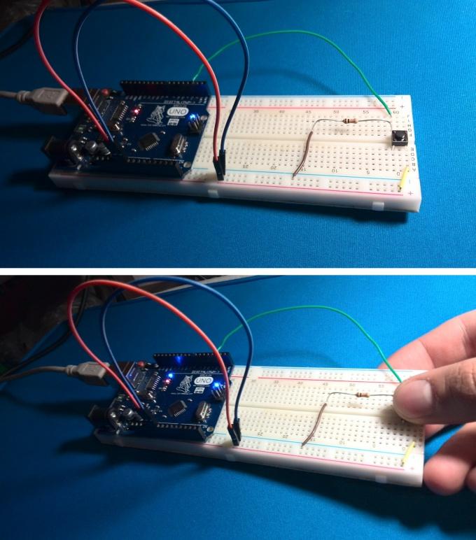 Скетч для обработки нажатий кнопки по схеме со стягивающим резистором
