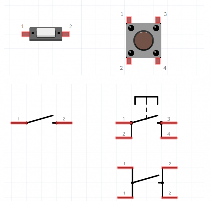 Разные кнопки и их принципиальные схемы