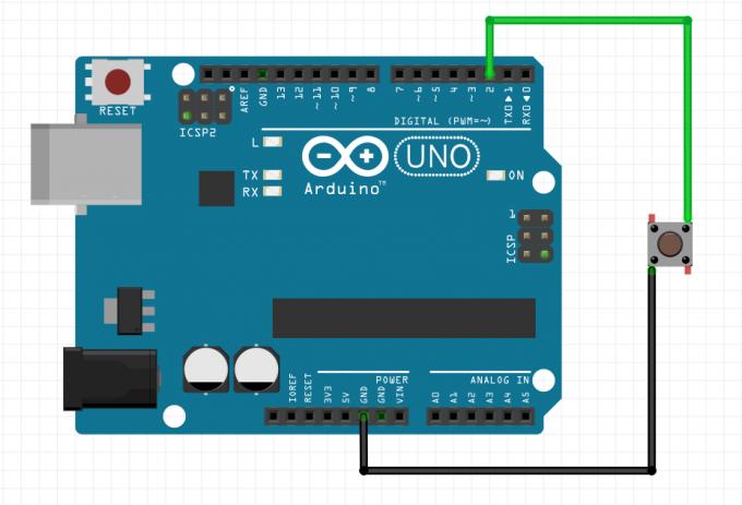 Схема подключения кнопки к Arduino напрямую