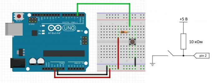 Схема с подтягивающим резистором