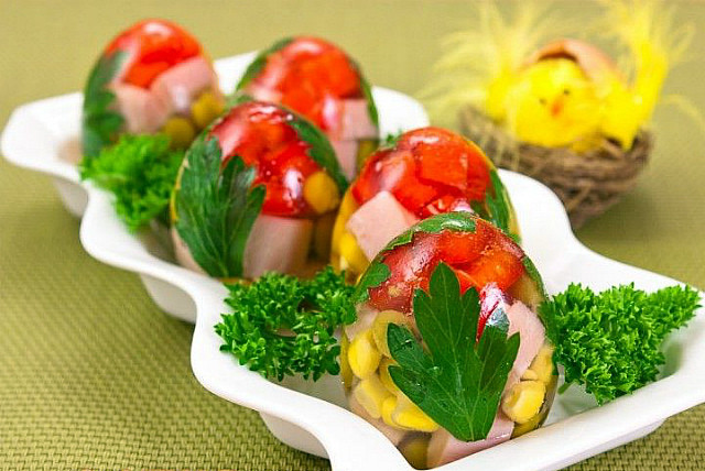"The appetizer on the festive table ""Jellied eggs"""
