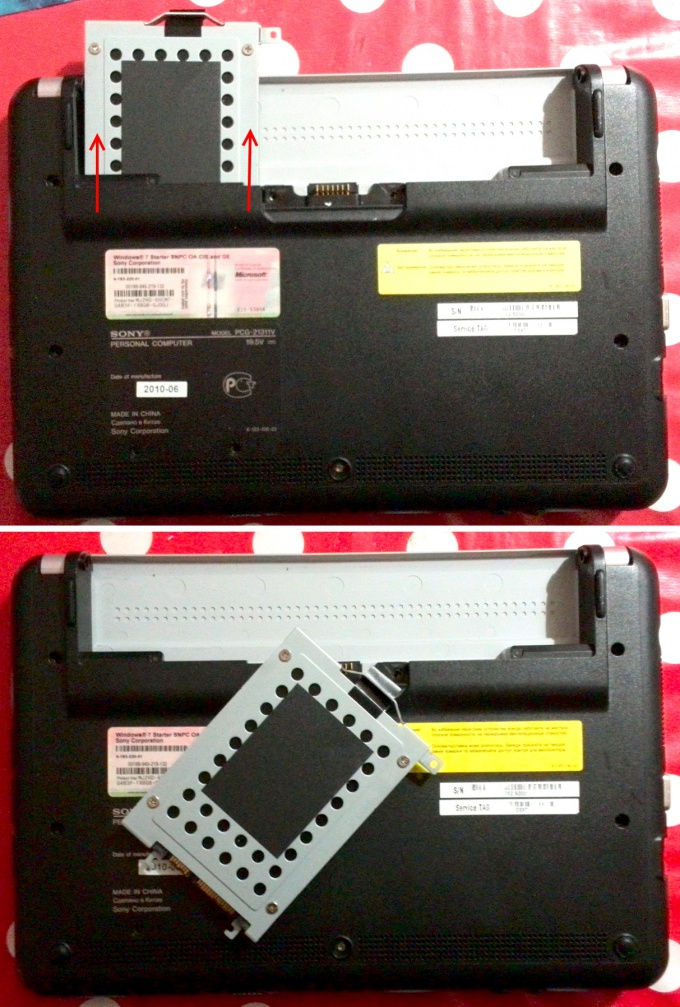 Вынимаем жёсткий диск нетбука Sony Vaio PCG-21311V (VPCM12M1R)