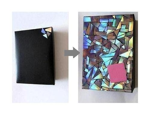 Сверкающий блокнот из старых CD-дисков