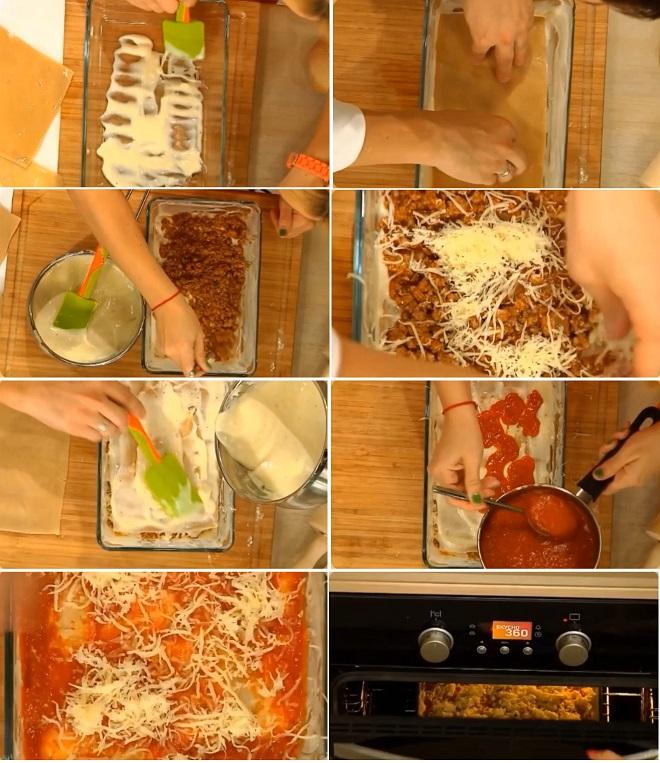 Форму для лазаньи смазываем тонким слоем соуса «Бешамель». Сверху выкладываем лист теста и снова смазываем соусом «Бешамель». Распределяем мясной соус «Болоньезе» ложкой тонким слоем. Посыпаем сыром «Пармезаном&am