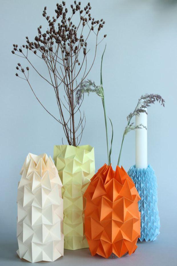 Декор вазы из картона 85