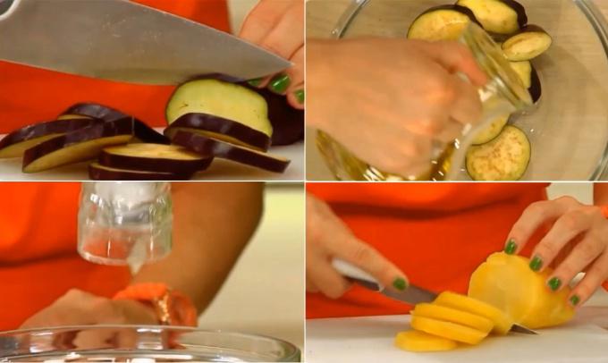 Баклажаны нарезаем тонкими кружочками и взбрызгиваем оливковым маслом. Присыпаем солью и оставляем на 20 минут, чтобы избавиться от лишней влаги и горечи. Картофель отвариваем, чистим и режим на такие же точно кружочки, как и баклажаны.