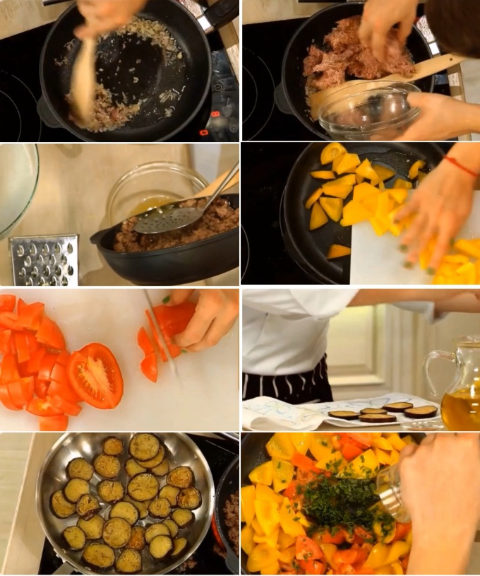 Лук шалот прогреваем на оливковом масле, добавляем говяжий фарш и перемешиваем. Когда мясной сок выпарится, добавляем соль по вкусу и снимаем фарш с плиты.  На другой сковороде обжариваем болгарский перец. У свежих томатов удаляем плодоножку и нарезаем то