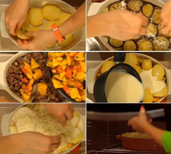 Form the moussaka. Lay the potatoes in the first layer and sprinkle with grated cheese. Then lay out the eggplant and cheese again. Put mince and roasted vegetables on top. The last layer is potatoes. Pour evenly the whole dish with cream sauce and generously