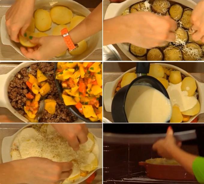 Формируем мусаку. Первым слоем в форму выкладываем картофель и посыпаем тёртым сыром. Затем выкладываем баклажаны и снова сыр. Сверху кладём фарш и обжаренные овощи. Последний слой – картофель. Поливаем равномерно всё блюдо сливочным соусом и щедро