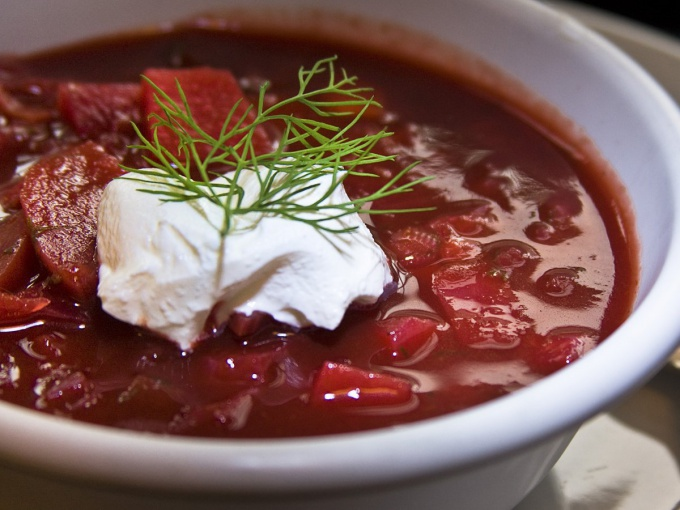 Try to cook red borsch with beets