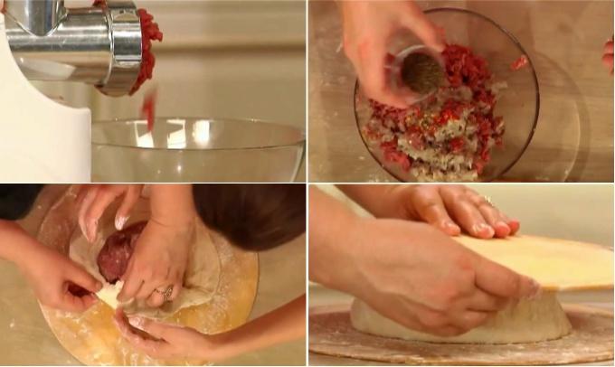 Готовим мясной пирог «Фыдджин». Небольшие кусочки мяса пропускаем через мясорубку вместе с луком и чесноком. Добавляем в фарш половинку мелконарезанного острого стручкового перца, тмин и соль. Всё тщательно перемешиваем и формируем шар. Формир
