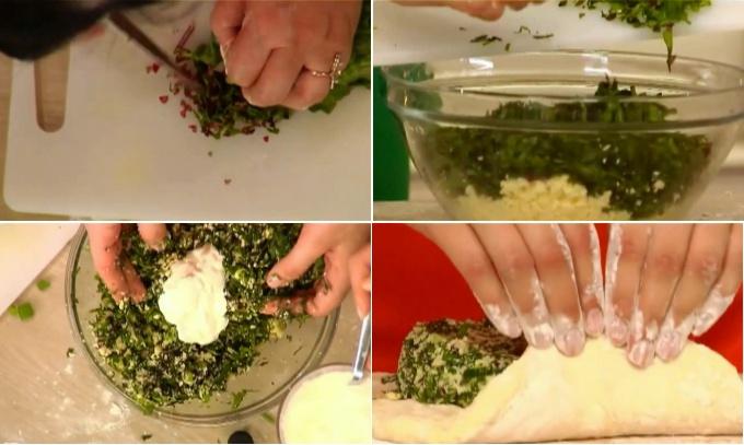 Готовим пирог со свекольной ботвой и сыром «Цахараджин». Для начинки этого пирога смешиваем свекольные листья и зелень с сыром. Для связки добавляем пару ложек жирной сметаны. Формируем и выпекаем пирог точно также, как и предыдущие.